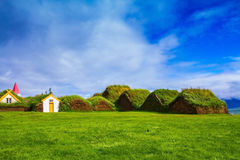 The  museum of pioneers - Vikings. Backyard rural houses. The reconstituted village - Pioneer Museum - Viking. The village first settlers in Iceland Royalty Free Stock Images
