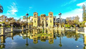 Museum of Popular Arts in Sevilla, Spain. Mudejar pavilion of Museum of Popular Arts And Traditions in Sevilla Seville, Andalucia, Spain. Located in the Maria stock video footage