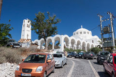 Museum of Prehistoric Thira Santorini Greece. The arches, tower and dome of the Museum of Prehistoric Thira Royalty Free Stock Photography