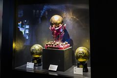 The Museum of the Real Madrid Football Club cups and awards the club. Stock Images