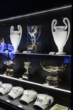 The Museum of the Real Madrid Football Club cups and awards the club. Stock Photos