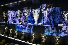 The Museum of the Real Madrid Football Club cups and awards the club. Stock Image