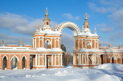 The Museum-reserve `Tsaritsyno`, Moscow, Russia. Moscow, Russia - 25 January 2017: Arched gallery of the State historical and architectural Museum-reserve ` stock images