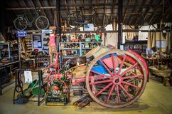 Museum Of Rural Bygones and Farming. Museum of rural life in Alford, Lincolnshire Uk with old cart, lawnmowers and implements stock photo