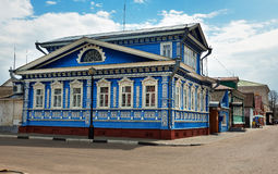 The Museum of of samovars, old blue wooden house with carved patterns stock images