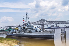Museum Ship USS Kidd (DD-661) in Baton Rouge. BATON ROUGE, USA - JULY 13, 2013: USS Museum Ship USS Kidd (DD-661), a Fletcher-class destroyer, in Baton Rouge. It Stock Images