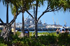 Museum Ship USS Missouri. Pearl Harbon. Oahu, Hawaii, USA, EEUU. Museum Ship USS Missouri. Old US Naval Ship Converted Into Museum. Pearl Harbon. Oahu, Hawaii royalty free stock image