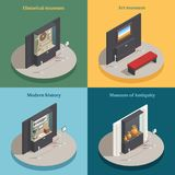 Museum Showcase 4 Isometric Icons. Art museum showcase 4 isometric icons concept square composition with historical antique display cases isolated vector Royalty Free Stock Image