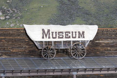 Museum sign on side of wagon Stock Photo