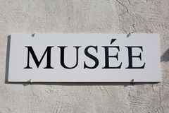 Museum signboard in french language Stock Image