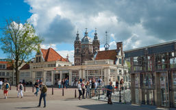 Museum square of Amsterdam city with visitors at summer season Royalty Free Stock Images