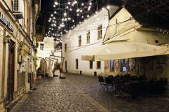 Museum Square by night in Cluj-Napoca, Transylvania, Romania. Picture taken on December 11, 2018 at the Museum Square of Cluj-Napoca city, Transylvania, Romania royalty free stock photo