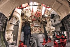 Museum submarine ship. LABOE, GERMANY - AUGUST 30, 2014: People visit German submarine U-995 (museum ship) in Laboe. It is the only surviving Type VII submarine royalty free stock image