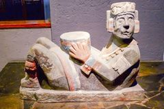Museo del Templo Mayor sculpture at Mexico City. This Museum tells Azteca civilization story until Spanish conquest. Very impressive argyle sculptures to see and Royalty Free Stock Photos