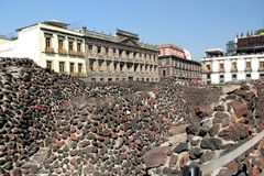 Museum Templo Mayor in Mexico city. Museum of Templo Mayor located in the historical centre of Mexico city. Near the Cathedral Royalty Free Stock Images