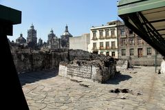 Museum Templo Mayor in Mexico city. Museum of Templo Mayor located in the historical centre of Mexico city. Near the Cathedral Royalty Free Stock Image