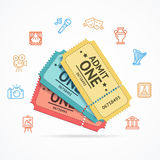 Museum and Theater Tickets Set. Vector Royalty Free Stock Photo