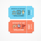 Museum Tickets Set. Vector Royalty Free Stock Images