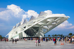 Museum of Tomorrow in Rio de Janeiro, Brazil. People visiting the Museum of Tomorrow (Museu do Amanha), designed by Spanish architect Santiago Calatrava, in Rio Royalty Free Stock Photos
