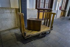 Museum of trains Madrid exposition of railway equipment service equipment and history of development. MADRID, SPAIN - 27 MARCH, 2018: Museum of trains Madrid stock photos