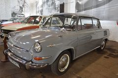 Museum of Transport Bratislava - Škoda MBX. Gray Škoda 1000 MBX 2-door car in museum Stock Image