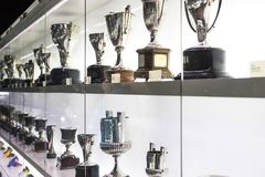 The museum of trophies of the cups and awards of the team FC Barcelona in the of Camp Nou. BARCELONA, SPAIN - 12 JANUARY 2018: The museum of trophies of the royalty free stock photography