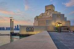 Museum van Islamitische Kunst, Doha, Qatar in daglicht buitenmening Stock Afbeeldingen