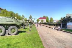 Museum van militaire uitrusting Sovetskstad, Kaliningrad-gebied stock afbeelding