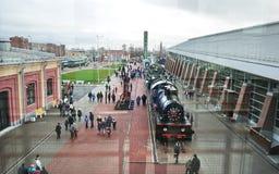 Museum van Russische Spoorwegen Het grootste die Museum van spoorweguitrusting in Rusland, in St. Petersburg, dichtbij de Baltisc royalty-vrije stock afbeeldingen