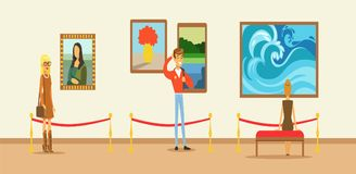 Museum visitors looking at the painting hanging on gallery wall, people viewing museum. Exhibit horizontal vector Illustration Stock Photography