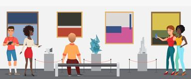 Museum visitors people in art exhibition gallery museum taking looking pictures. Vector illustration. Museum visitors people in art exhibition gallery museum Royalty Free Stock Image