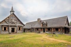 Museum von Sainte Marie unter Huronen nähern sich Binnenland in Kanada lizenzfreie stockfotos
