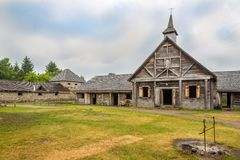 Museum von Sainte Marie unter Huronen nähern sich Binnenland in Kanada lizenzfreies stockbild