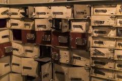 Museum von Wachsfiguren in Barcelona auf dem Straße Las Ramblas Das Design des Raubes des Banklagers an den Tagen der Gruppe Stockfotografie