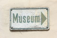 Museum. Weathered sign to a museum Stock Photos