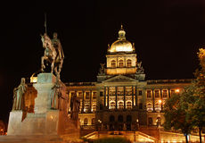 Museum and Wenceslas at night Royalty Free Stock Photography