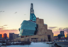 Museum Winnipeg. The Forks, Museum for Human Rights in Winnipeg in winter Stock Photography