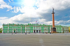 Museum Winter Palace, the Hermitage and the Palace Square in St. Petersburg Royalty Free Stock Photo