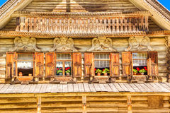 Museum  wooden architecture Vitoslavlitsy village street house C Stock Image