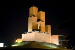 Museum of World War II victims. Night scene of Museum of World War II victims, National park Sumarice, Kragujevac, Serbia Stock Image