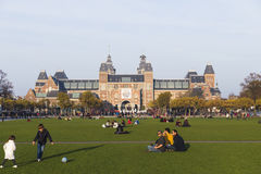 Museumfyrkant i den Amsterdam hösten Royaltyfri Foto