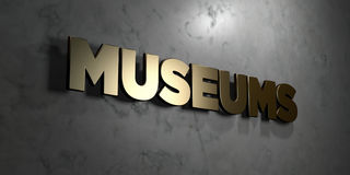 Museums - Gold sign mounted on glossy marble wall  - 3D rendered royalty free stock illustration. This image can be used for an online website banner ad or a Royalty Free Stock Images