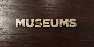 Museums - grungy wooden headline on Maple  - 3D rendered royalty free stock image. This image can be used for an online website banner ad or a print postcard Stock Photos
