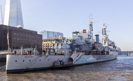 Museumskepp för HMS Belfast Royaltyfria Bilder