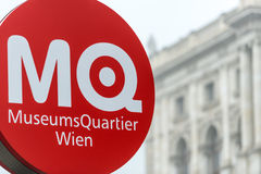 Museumsquartier sign in Vienna, Austria, Europe. Royalty Free Stock Photo