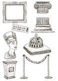 Museumsymbolsuppsättning, dragen illustration för vektorfärgpulver hand stock illustrationer
