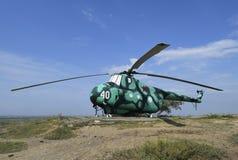 Museumutställning av stridhelikoptrar Militär kulle Temryuk Arkivbilder