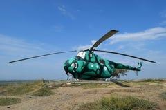 Museumutställning av stridhelikoptrar Militär kulle Temryuk Royaltyfri Fotografi
