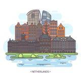 Museus e marcos de Países Baixos ou de holland ilustração royalty free