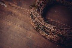 Musgo y guirnaldas de madera Fotografía de archivo libre de regalías